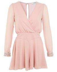 Miss Selfridge - Pink Petites Jewel Cuff Playsuit - Lyst