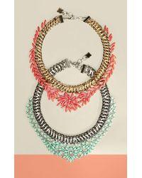 BCBGMAXAZRIA - Metallic Woven Stone Necklace - Lyst
