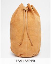 ASOS - Brown Suede Drawstring Cross Body Backpack - Lyst