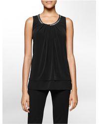 Calvin Klein - Black Hardware Ruched Sleeveless Top - Lyst