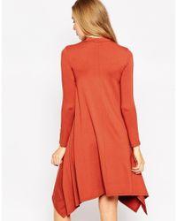 ASOS | Orange Swing Dress With Hanky Hem | Lyst