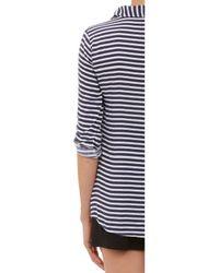 Splendid | Blue Rollsleeve Striped Shirt | Lyst