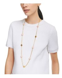 Tory Burch - Black Dipped Evie Chain Rosary Necklace - Lyst