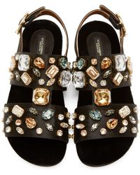 Dolce & Gabbana | Multicolor Embellished Satin Sandals | Lyst