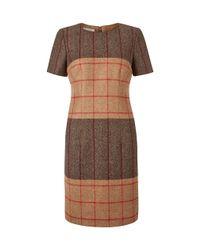Hobbs | Brown Dublin Check Dress | Lyst