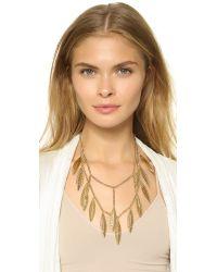 Rebecca Minkoff | Metallic Safari Haze Leaf Statement Necklace - Gold/crystal | Lyst