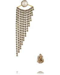 Elizabeth Cole | Metallic Gold-plated Swarovski Crystal Earrings | Lyst