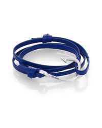 Miansai | Blue Silvertone Hook Leather Bracelet | Lyst