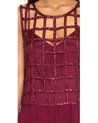 Free People - Red Sequin Shell Drop Waist Dress - Lyst