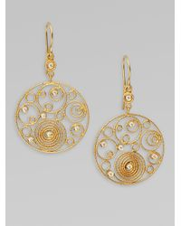 Roberto Coin | Metallic Mauresque Diamond & 18k Yellow Gold Circle Swirl Earrings | Lyst