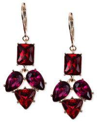 Anne Klein | Red Gold-tone Siam Mini Chandelier Earrings | Lyst