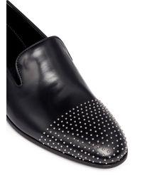 Alexander McQueen | Black Stud Toe Leather Slip-ons for Men | Lyst