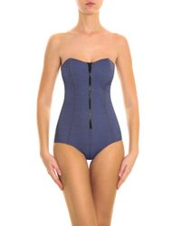 Lisa Marie Fernandez - Blue Leigh Denim Maillot Swimsuit - Lyst