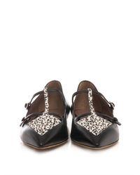 Tabitha Simmons - Black Heart Calf-Hair And Leather Flats - Lyst
