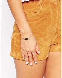 ASOS - Brown Moss Agate Stone Fine Bracelet - Lyst