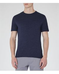 Reiss | Blue Habit Flecked Crew Neck T-shirt for Men | Lyst