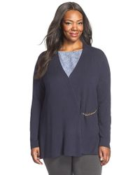 Ellen Tracy | Blue Chain Closure Cardigan | Lyst