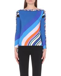 Emilio Pucci | Multicolor Abstract-print Stretch-crepe Top | Lyst
