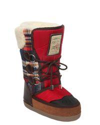 DSquared² - Blue Nylon & Plaid Wool Snow Boots - Lyst