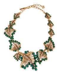 Oscar de la Renta | Green Cutout Jeweled Leaf Necklace | Lyst