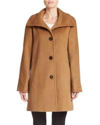 Ellen Tracy - Brown Petite Single-breasted Wool-blend Coat - Lyst