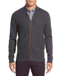 Ted Baker - Gray 'duk' Modern Slim Fit Knit Bomber for Men - Lyst