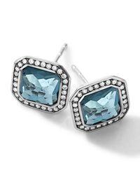 Ippolita | Sterling Silver Stella London Blue Topaz Stud Earrings With Diamonds | Lyst