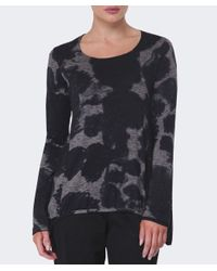 Rundholz | Gray Ink Print Curved Hem Top | Lyst