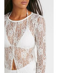 Forever 21 - Natural Longline Lace Split-front Top - Lyst