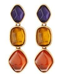 Oscar de la Renta | Golden Multicolor Tripledrop Earrings | Lyst