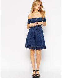 ASOS | Blue Skater Dress With Off Shoulder Detail And Crochet Hem | Lyst