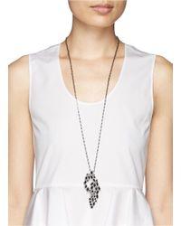 St. John | Gray 'night Bloom' Crystal Laurel Pendant Necklace | Lyst