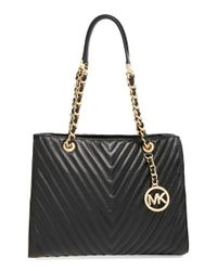 MICHAEL Michael Kors | Black 'medium Susannah' Quilted Leather Tote | Lyst