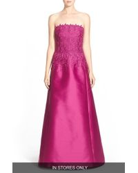Helen Morley - Purple Strapless Guipure Lace & Mikado Gown - Lyst