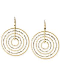 Michael Kors | Metallic Gold-Tone Clear Crystal Large Circle Drop Earrings | Lyst