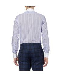 Turnbull & Asser - Blue Purple Slim-Fit Contrast-Collar Cotton Shirt for Men - Lyst