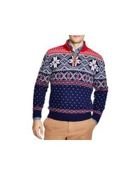 Vineyard Vines | Blue Fair Isle Quarter Zip Sweater for Men | Lyst
