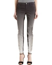 J Brand | Multicolor Degrading Polka Dot To Check Pattern Skinny Jeans | Lyst
