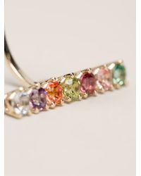 Delfina Delettrez - Gold Vein Multicolor Topaz, Peridot & 4mm White Freshwater Pearl Single Earring - Lyst