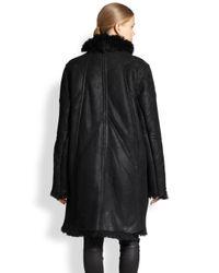 Helmut Lang - Black Tuft Shearling Coat - Lyst