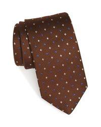 Eton of Sweden - Brown Geometric Woven Silk Tie for Men - Lyst