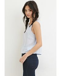 Forever 21 - Blue Layered-hem Woven Top - Lyst