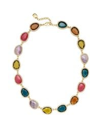 Lauren by Ralph Lauren - Multicolor Goldtone and Multi Stone with Pave Crystal Link Collar Necklace - Lyst