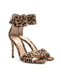 Gianvito Rossi - Multicolor Leopard Print Pony Hair Sandals - Lyst