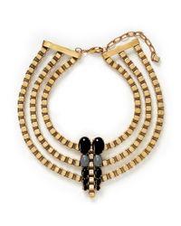 Ela Stone | Metallic 'lior' Onyx Hematite Plastron Necklace | Lyst