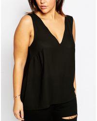 ASOS | Black Vest Top With V Back & Front | Lyst
