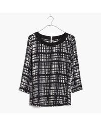 Madewell | Black Silk Retrospect Top In Brushstroke Plaid | Lyst