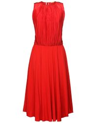 BOSS Orange | Red 'egioie' | Cotton Silk Pleated Midi Dress | Lyst