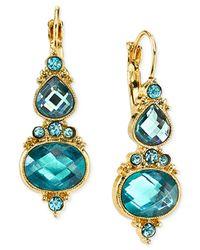 2028 - Blue Faceted Stone Drop Earrings - Lyst