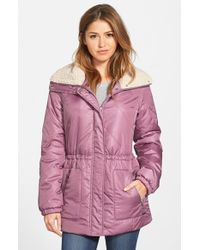 Kenneth Cole | Purple Faux Shearling Trim Puffer Coat | Lyst